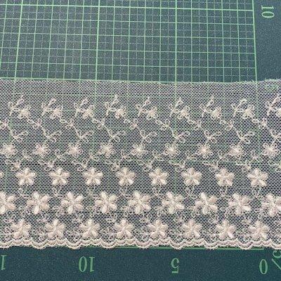 画像1: チュールレース オフホワイト 幅10.4cm小花柄 1m巻!