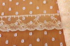 画像3: ラッセルレース ピンク/ラメ入り  4.3cm小花柄 5m巻 (3)