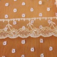 画像1: ラッセルレース ピンク/ラメ入り  4.3cm小花柄 5m巻 (1)