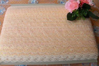 画像3: ラッセルレース ピンク/ラメ入り  4.3cm小花柄 5m巻