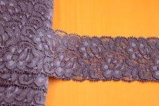 画像3: ストレッチラッセルレース ネイビー 日本製 幅5cmバラ柄 5m巻 (3)