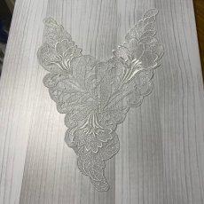 画像3: チュールレースモチーフ オフホワイト 幅28cm カトレア 1枚 (3)