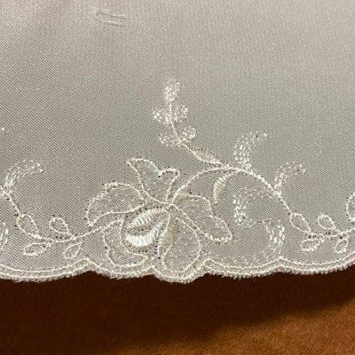 画像3: サテン刺繍レース オフホワイト 幅8.2cm薔薇柄 3m巻