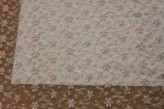 画像5: 幅90cm!1m!広幅上品な小花柄チュールレース ピンク (5)