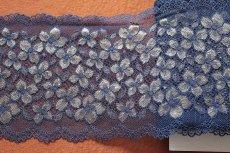 画像6: ラッセルストレッチレース ネイビー 幅16.5cm 花柄 3m巻 (6)