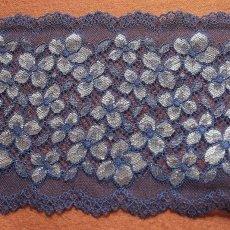 画像1: ラッセルストレッチレース ネイビー 幅16.5cm 花柄 3m巻 (1)