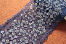画像3: ラッセルストレッチレース ネイビー 幅16.5cm 花柄 3m巻 (3)