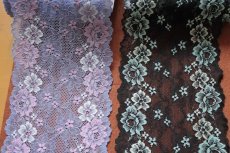 画像2: ラッセルストレッチレース  幅17.7cm光沢のある薔薇柄  3m巻 (2)