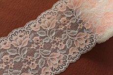画像3: ラッセルストレッチレース オレンジ 幅15.6m ロマンティックな花柄 3m巻 (3)