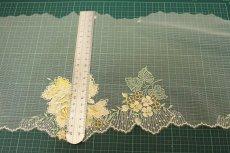画像3: チュールレース イエロー 幅21cm薔薇柄 日本製  (3)