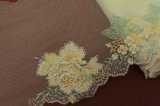 画像8: チュールレース イエロー 幅21cm薔薇柄 日本製  (8)
