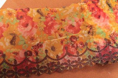 画像1: 刺繍レース 華やかオレンジ 幅19.5cm 薔薇プリント柄  3m
