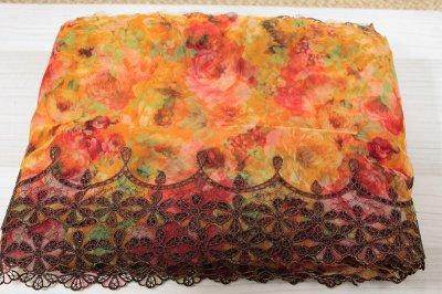 画像3: 刺繍レース 華やかオレンジ 幅19.5cm 薔薇プリント柄  3m