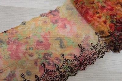 画像2: 刺繍レース 華やかオレンジ 幅19.5cm 薔薇プリント柄  3m