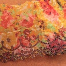 画像1: 刺繍レース 華やかオレンジ 幅19.5cm 薔薇プリント柄  3m (1)