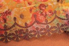 画像3: 刺繍レース 華やかオレンジ 幅19.5cm 薔薇プリント柄  3m (3)