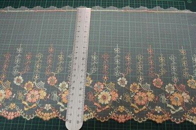 画像1: チュールレース オレンジ 幅19cm 花かごとリボン柄 3 m