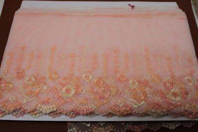 画像3: チュールレース オレンジ 幅19cm 花かごとリボン柄 3 m