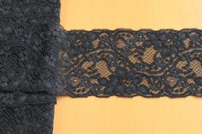 画像1: 幅8.2cm美しいラッセルストレッチレース 黒