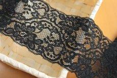 画像3: 幅8.2cm美しいラッセルストレッチレース 黒 (3)