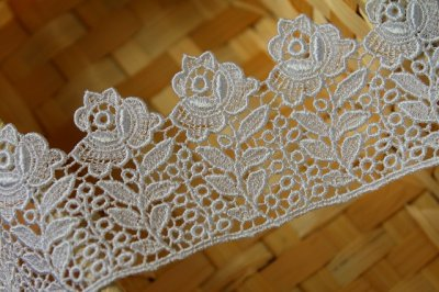 画像3: 1m!幅5cm 日本製バラのケミカルレース 白
