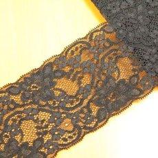 画像1: 幅8.2cm美しいラッセルストレッチレース 黒 (1)