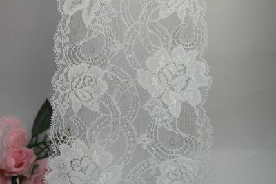 画像1: 5m!幅14cm美しい薔薇柄ラッセルレース  オフホワイト