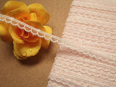 画像1: チュールレース ピンク 幅0.7cm 可愛いスカラ 3m巻