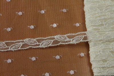 画像1: チュールレース オフホワイト 幅0.8cm繊細な葉柄 13m巻!