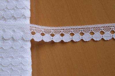画像1: 10m!幅1.2cmドットが可愛いリバーレース ホワイト
