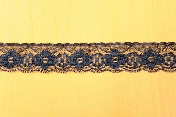 画像1: 10m!幅3cm可愛い小花柄ラッセルレース 紺 (1)