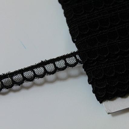 画像1: チュールレース ブラック 3m巻!幅1cm 可愛い (1)