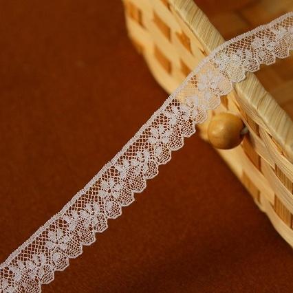 画像1: フランス製リバーレース ホワイト  幅1.5cm小花柄 5m巻 (1)