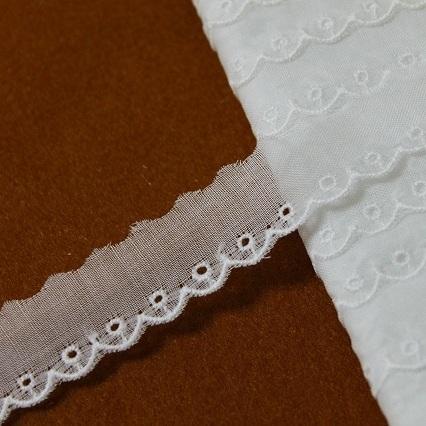 画像1: 13m!幅1.8cm上質な日本製綿レース オフホワイト (1)