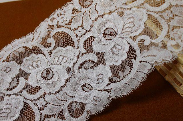 画像1: 3m!幅13.5cmお花のリバーレース ホワイト (1)