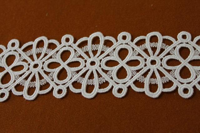 画像1: 3m!幅7cm綺麗な綿ケミカルレース オフホワイト、ウエディングに (1)