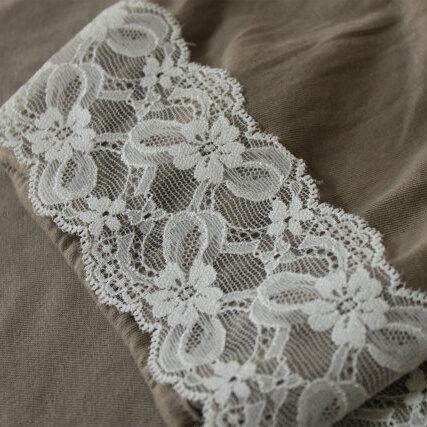 画像1: ラッセルストレッチレース オフホワイト 幅7cm可愛いリボン柄 5m巻 (1)