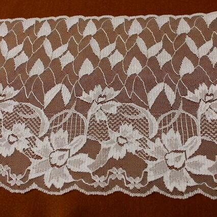 画像1: ラッセルレース ホワイト 1m!幅19cm花柄 (1)