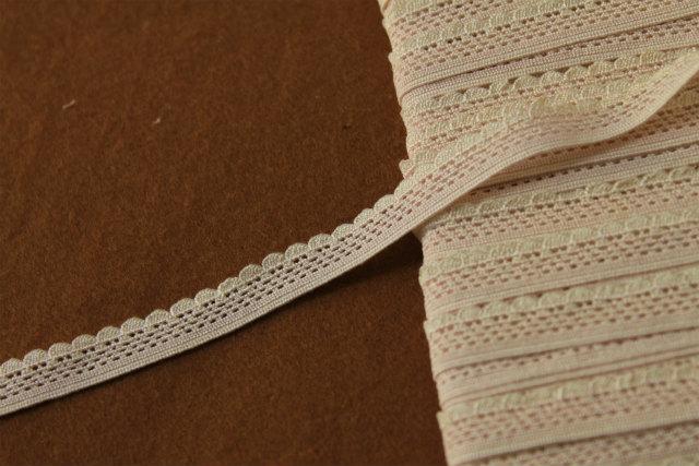 画像1: 5m!幅0.9cm高級シルク製ストレッチトーションレース ピンク/オフホワイト (1)