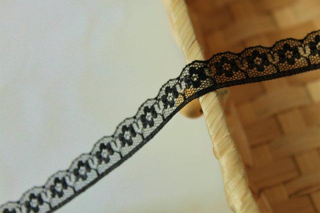 画像1: 10m!幅1.5cm可愛い花柄ラッセルレース 黒 (1)