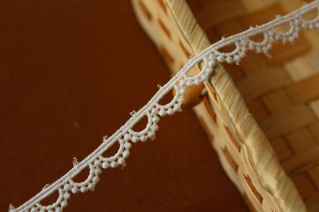画像1: 1m!幅1cmドットが可愛い綿ケミカルレース オフホワイト (1)