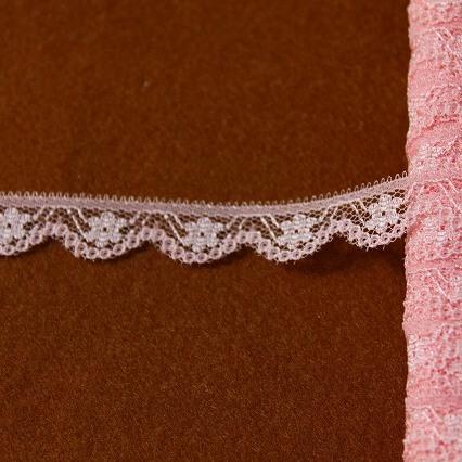 画像1: ラッセルレース ピンク 5m巻!幅1.1cm小花柄 (1)