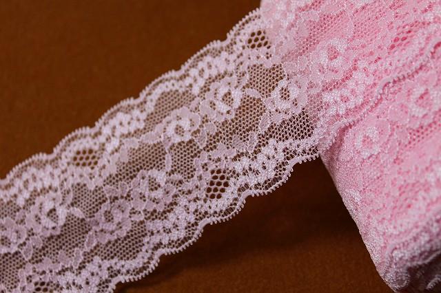 画像1: 4m!幅6cm綺麗な薔薇柄ラッセルストレッチレース ピンク (1)