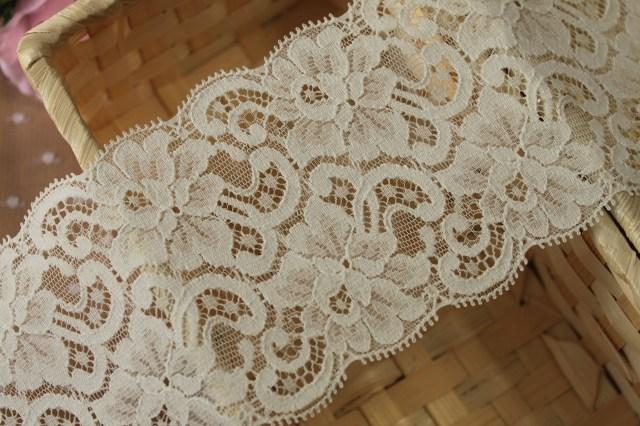 画像3: お買い得!10m!幅8.5cm薔薇柄リバーストレッチレース オフホワイト