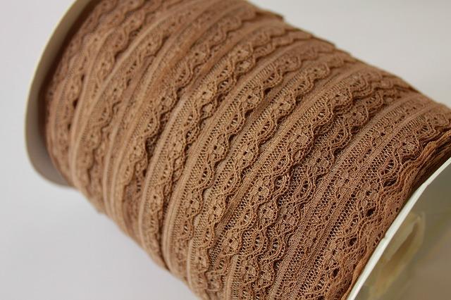 画像1: リバーレース チャコールブラウン 5m!幅1cm小花柄 (1)