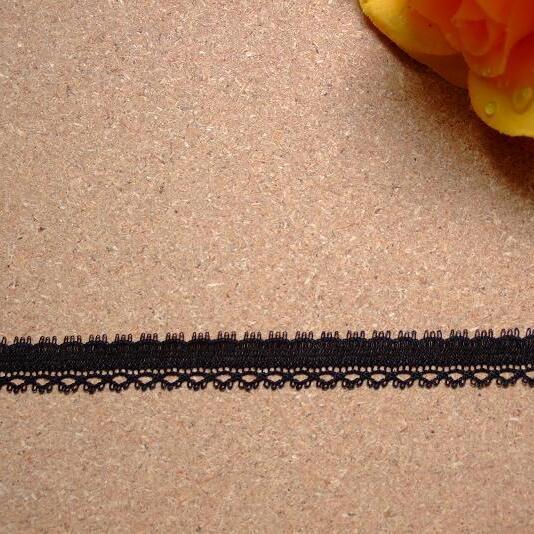 画像1: リバーレース 黒  5m! 幅0.8cm 繊細なスカラ (1)
