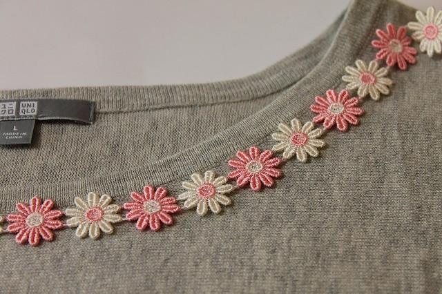 画像1: 1m!幅1.9cm交互のお花柄ケミカルレース ピンクとオフホワイト (1)