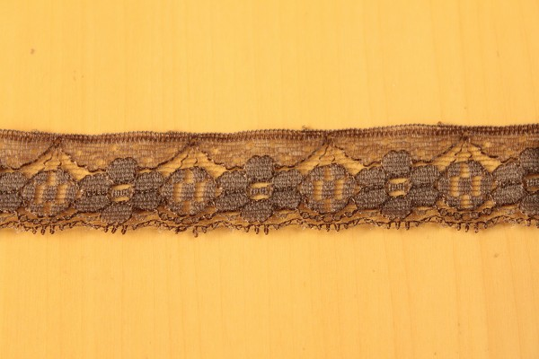 画像1: 10m!幅3cm可愛い小花柄ラッセルレース ブラウン (1)