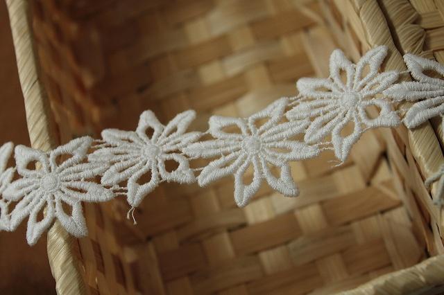 画像1: 6.5m!幅3.1cmお花の綿ケミカルレース オフホワイト (1)