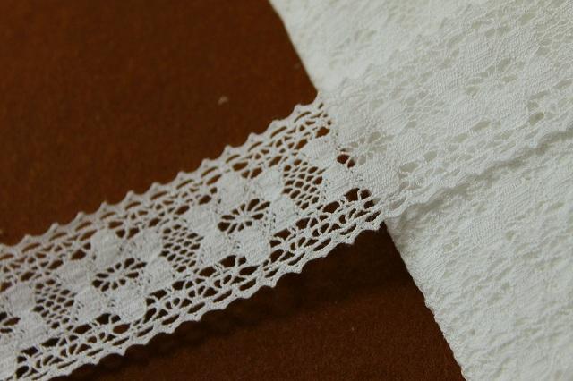 画像1: 10m!幅3.4cm 綺麗な花柄綿トーションレース オフホワイト (1)